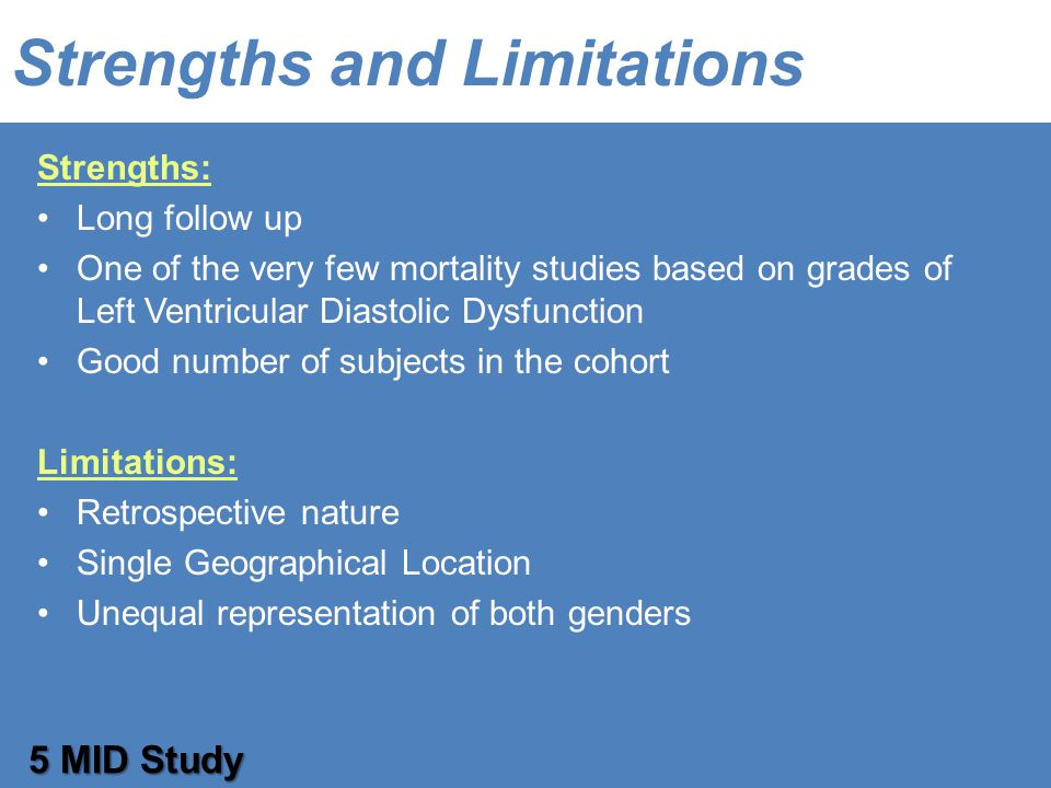 Strengths and Limitations Strengths: Long follow up One of the very few mortality studies based on grades of Left Ventricular Diastolic Dysfunction Good number of subjects in the cohort Limitations: Retrospective nature Single Geographical Location Unequal representation of both genders 5 MID Study