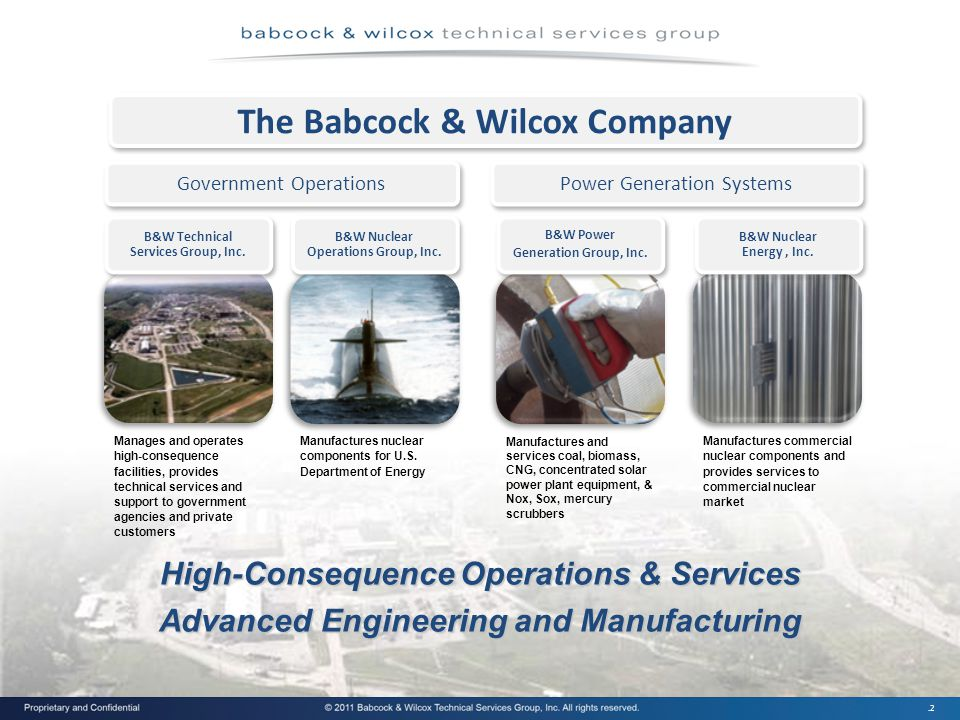 .2 The Babcock & Wilcox Company Government Operations Power Generation Systems High-Consequence Operations & Services Advanced Engineering and Manufacturing Manufactures and services coal, biomass, CNG, concentrated solar power plant equipment, & Nox, Sox, mercury scrubbers Manufactures nuclear components for U.S.