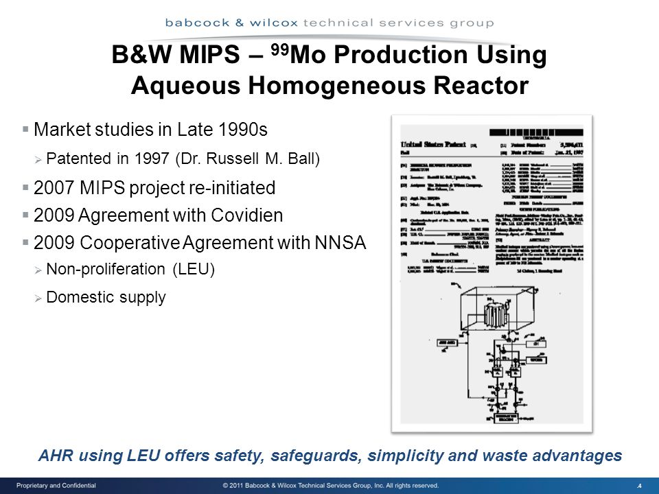 .4 B&W MIPS – 99 Mo Production Using Aqueous Homogeneous Reactor  Market studies in Late 1990s  Patented in 1997 (Dr.