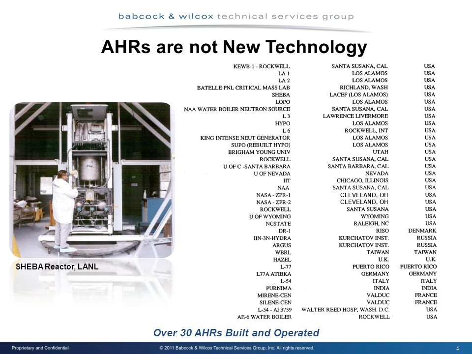 .5 Over 30 AHRs Built and Operated AHRs are not New Technology CLEVELAND, OH SHEBA Reactor, LANL