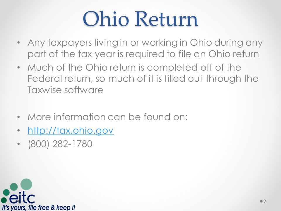 Finishing up Return School District Codes – search by Zip Code o https://thefinder.tax.ohio.gov/StreamlineSalesTaxWeb/default_schooldistri ct.aspx https://thefinder.tax.ohio.gov/StreamlineSalesTaxWeb/default_schooldistri ct.aspx o Cleveland : 1809; Euclid 1813; Cle Hts/U Hts 1810; E.