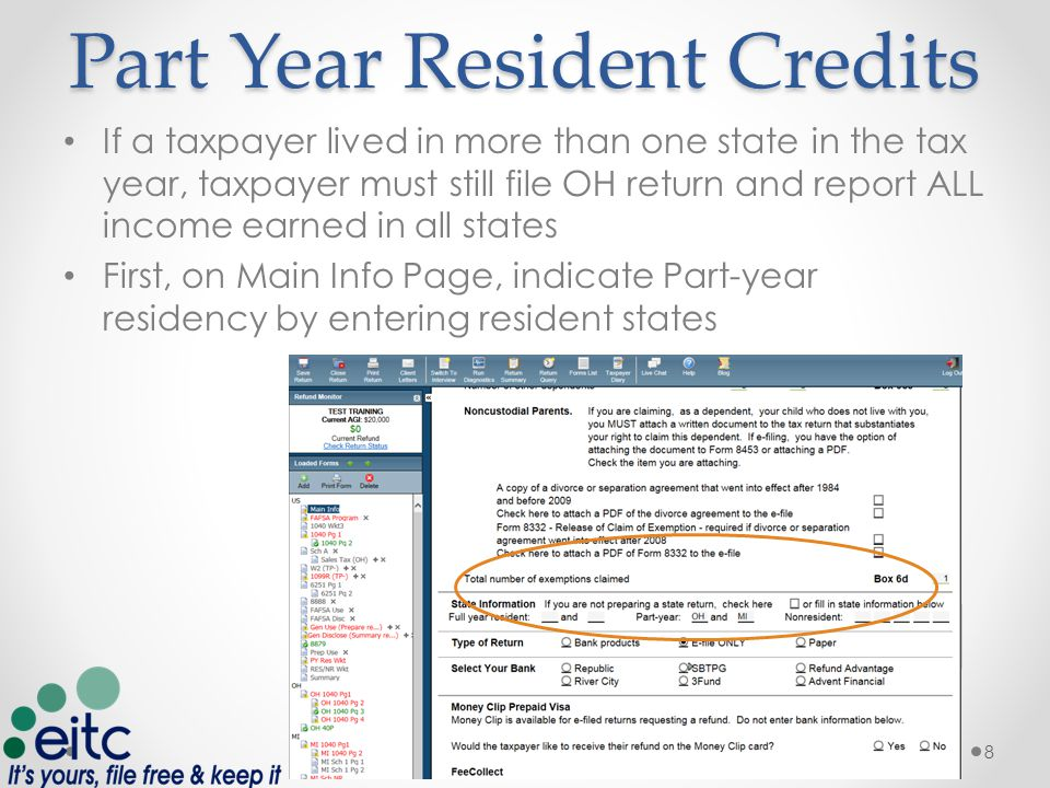 Part Year Resident Credits Next, enter residency dates on OH 1040 pg 1 9