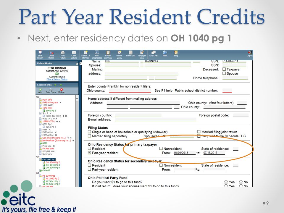 Part Year Resident Credits On Form W-2's make sure to indicate the States in which income was received on Line 15 10