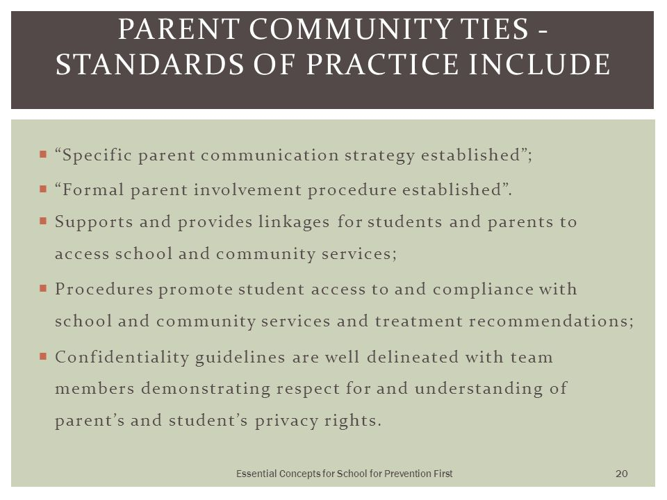  Specific parent communication strategy established ;  Formal parent involvement procedure established .