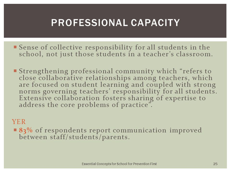  Sense of collective responsibility for all students in the school, not just those students in a teacher's classroom.