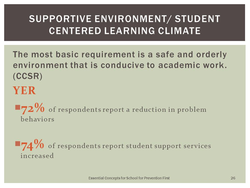 The most basic requirement is a safe and orderly environment that is conducive to academic work. (CCSR) YER  72% of respondents report a reduction in