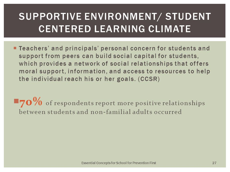  Teachers' and principals' personal concern for students and support from peers can build social capital for students, which provides a network of so