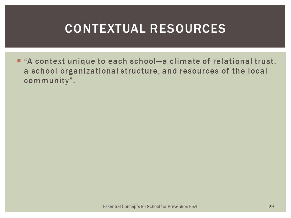  A context unique to each school—a climate of relational trust, a school organizational structure, and resources of the local community .