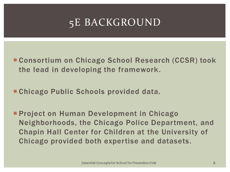  Consortium on Chicago School Research (CCSR) took the lead in developing the framework.