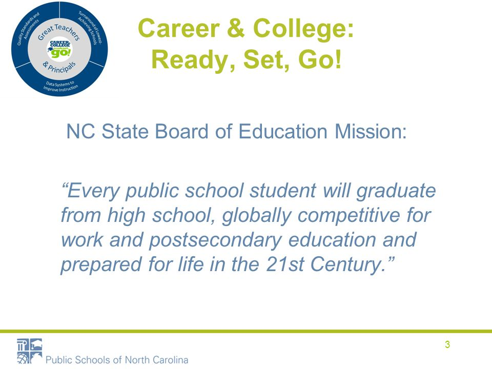 "Career & College: Ready, Set, Go! NC State Board of Education Mission: ""Every public school student will graduate from high school, globally competiti"