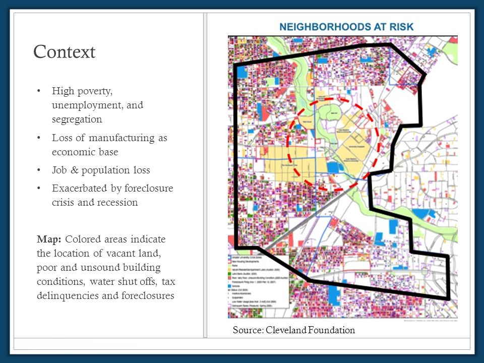 Context High poverty, unemployment, and segregation Loss of manufacturing as economic base Job & population loss Exacerbated by foreclosure crisis and recession Map: Colored areas indicate the location of vacant land, poor and unsound building conditions, water shut offs, tax delinquencies and foreclosures Source: Cleveland Foundation