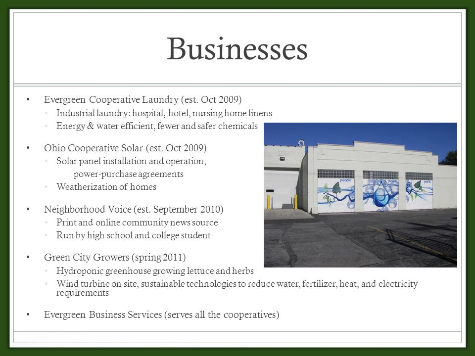 Businesses Evergreen Cooperative Laundry (est.