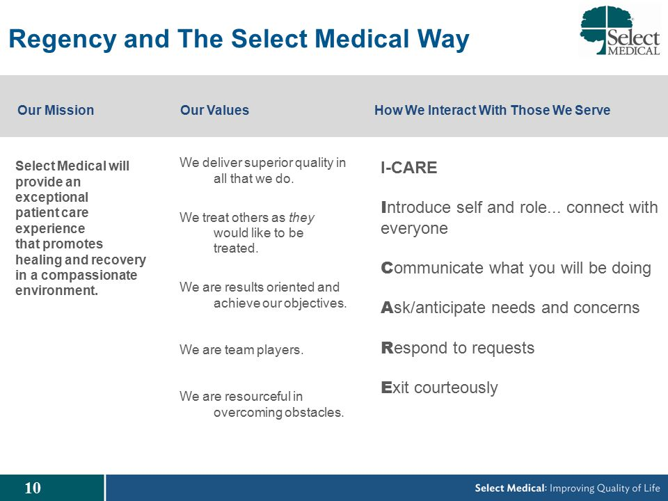 10 Regency and The Select Medical Way We deliver superior quality in all that we do.