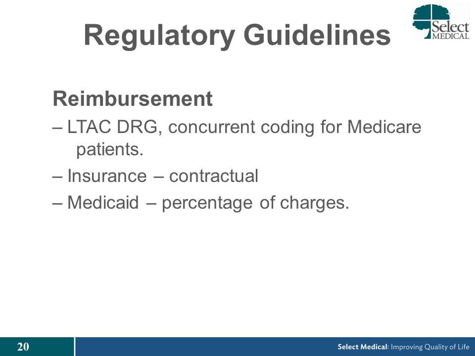 20 Regulatory Guidelines Reimbursement –LTAC DRG, concurrent coding for Medicare patients.