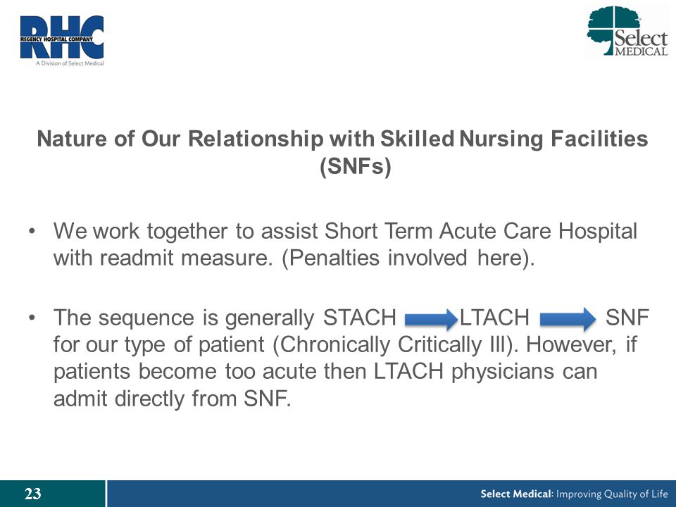 23 Nature of Our Relationship with Skilled Nursing Facilities (SNFs) We work together to assist Short Term Acute Care Hospital with readmit measure.