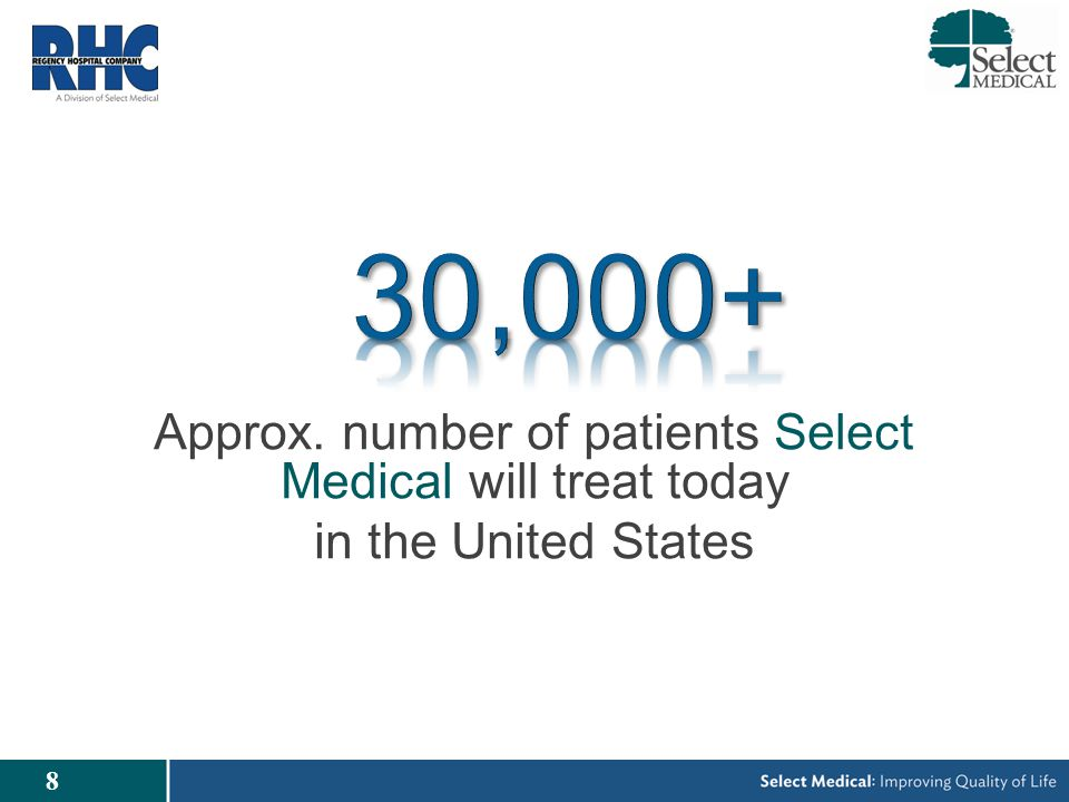 8 Approx. number of patients Select Medical will treat today in the United States