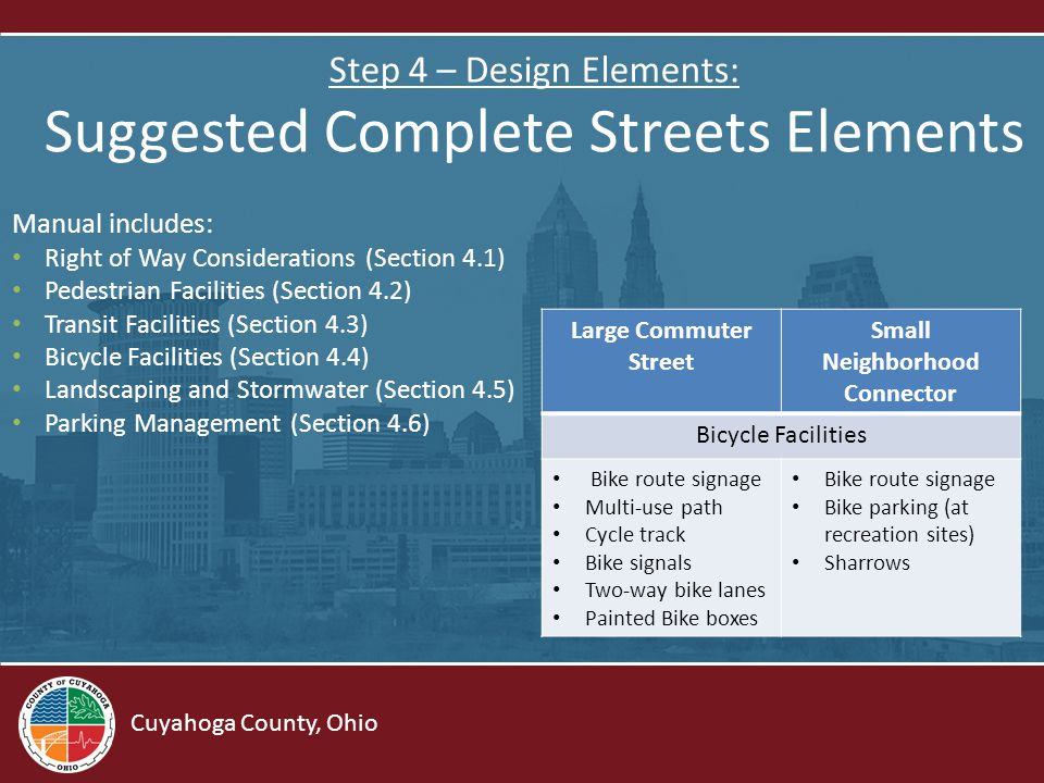 Cuyahoga County, Ohio Step 4 – Design Elements: Suggested Complete Streets Elements Manual includes: Right of Way Considerations (Section 4.1) Pedestrian Facilities (Section 4.2) Transit Facilities (Section 4.3) Bicycle Facilities (Section 4.4) Landscaping and Stormwater (Section 4.5) Parking Management (Section 4.6) Large Commuter Street Small Neighborhood Connector Bicycle Facilities Bike route signage Multi-use path Cycle track Bike signals Two-way bike lanes Painted Bike boxes Bike route signage Bike parking (at recreation sites) Sharrows