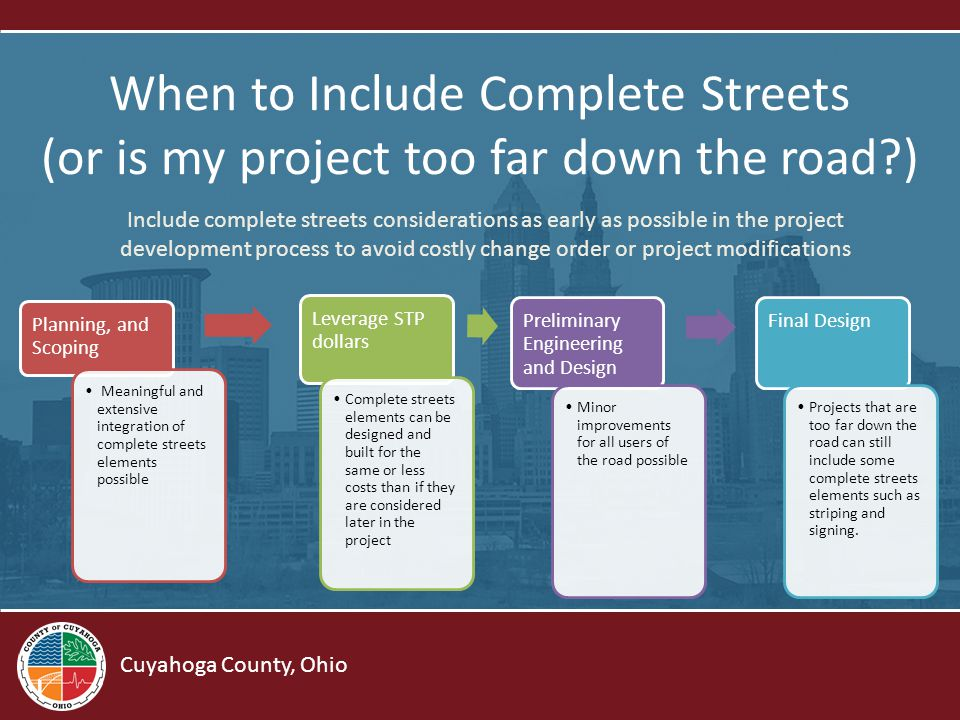Cuyahoga County, Ohio Toolkit Outline Chapter 1: Background Chapter 2: Planning a Road Project Chapter 3: Complete Streets Typology Chapter 4: Design Elements Chapter 5: Steps to Implementation