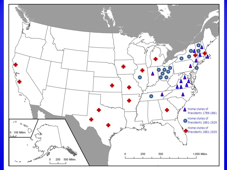 1789-2009 Home states of Presidents 1861-1929 Home states of Presidents 1789-1861 Home states of Presidents 1861-1929