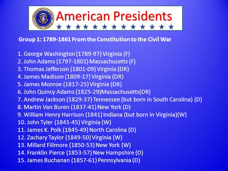 American Presidents Group 1: 1789-1861 From the Constitution to the Civil War 1.
