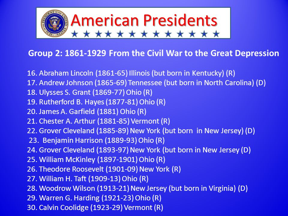 American Presidents Group 2: 1861-1929 From the Civil War to the Great Depression 16.