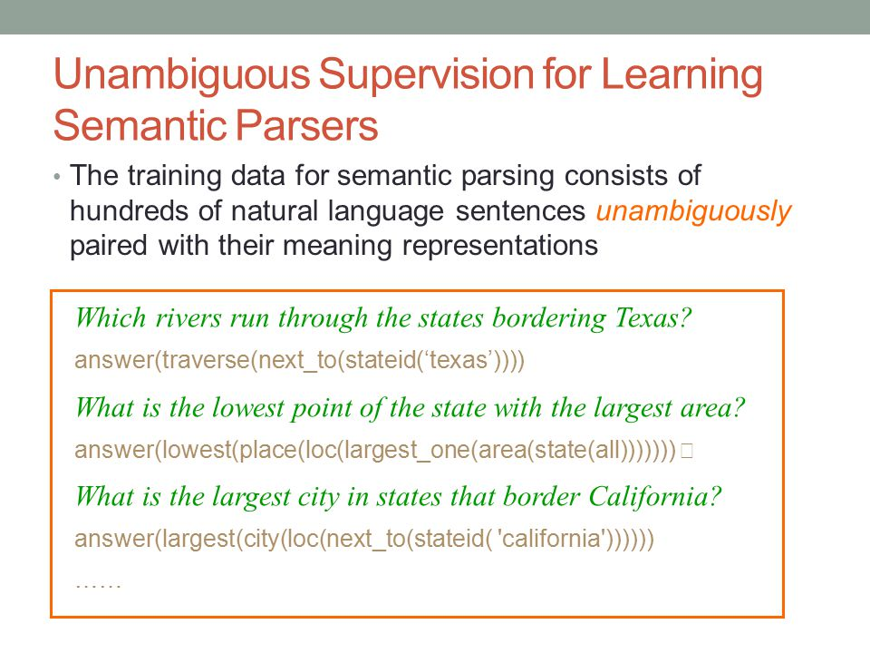 Unambiguous Supervision for Learning Semantic Parsers The training data for semantic parsing consists of hundreds of natural language sentences unambi