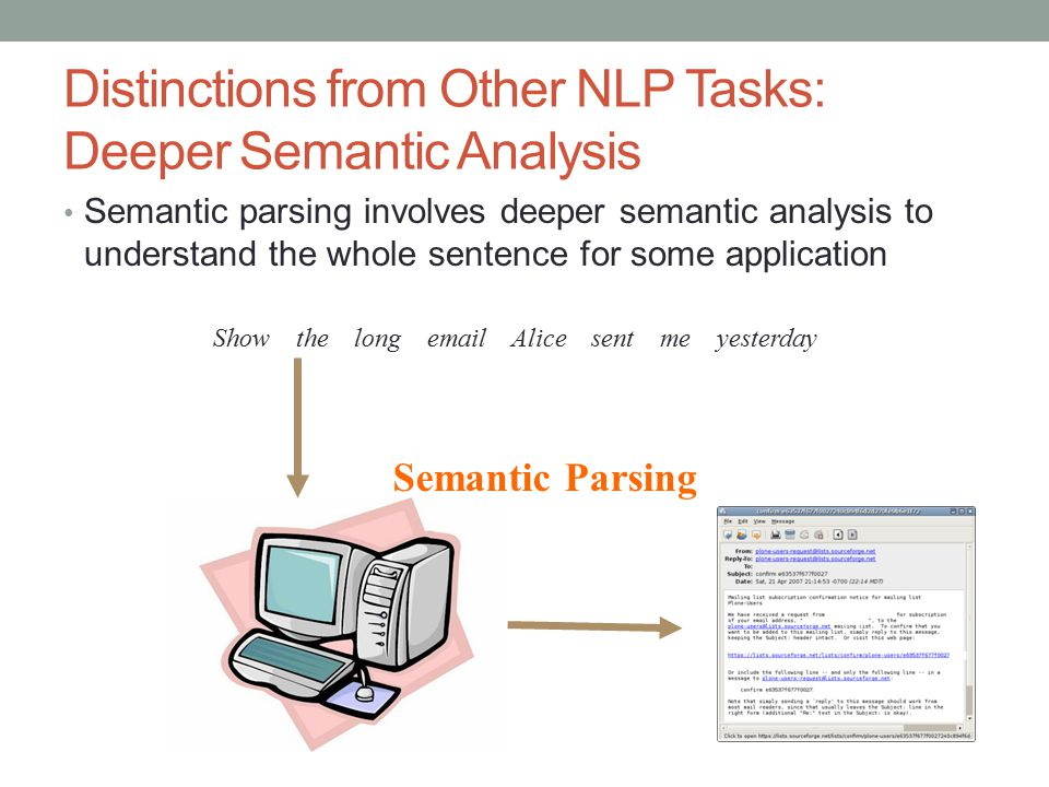 Distinctions from Other NLP Tasks: Deeper Semantic Analysis Semantic parsing involves deeper semantic analysis to understand the whole sentence for so