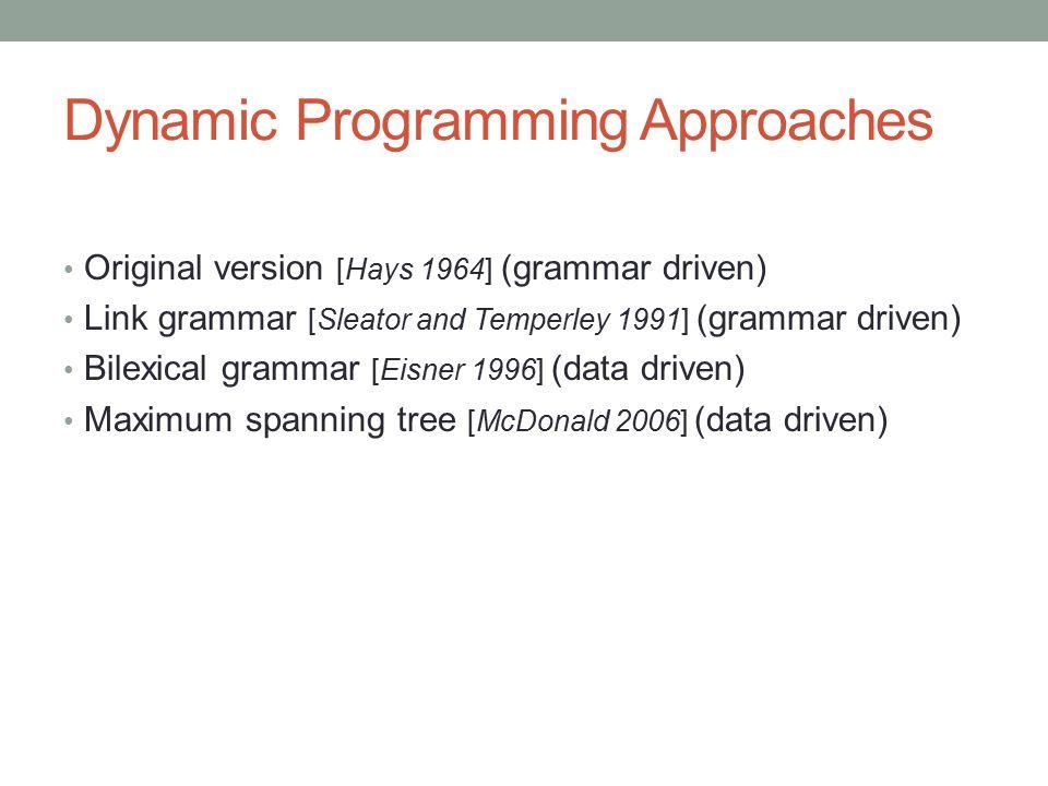 Dynamic Programming Approaches Original version [Hays 1964] (grammar driven) Link grammar [Sleator and Temperley 1991] (grammar driven) Bilexical grammar [Eisner 1996] (data driven) Maximum spanning tree [McDonald 2006] (data driven)
