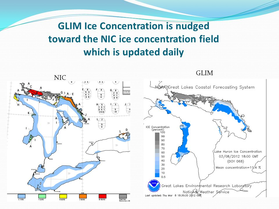 GLERL GLIM included in the GLCFS Great Lakes Coastal Forecasting System http://www.glerl.noaa.gov/res/glcfs/ Select Ice