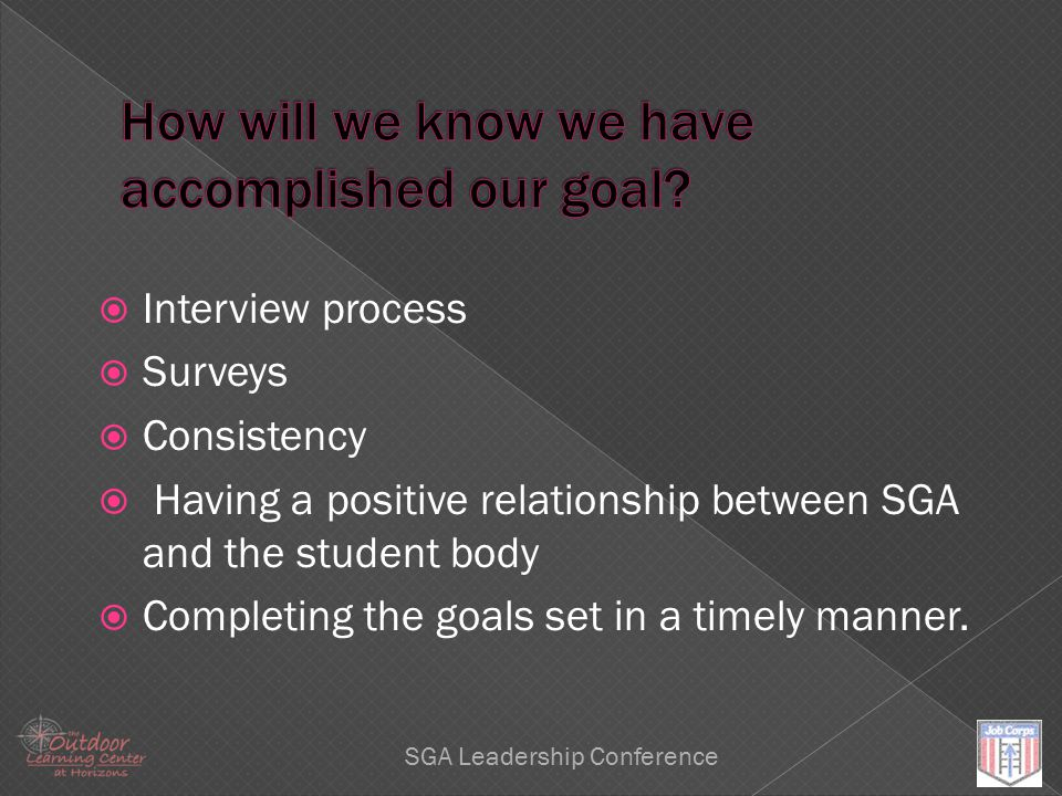 Leadership SGA Leadership Conference  Interview process  Surveys  Consistency  Having a positive relationship between SGA and the student body  C