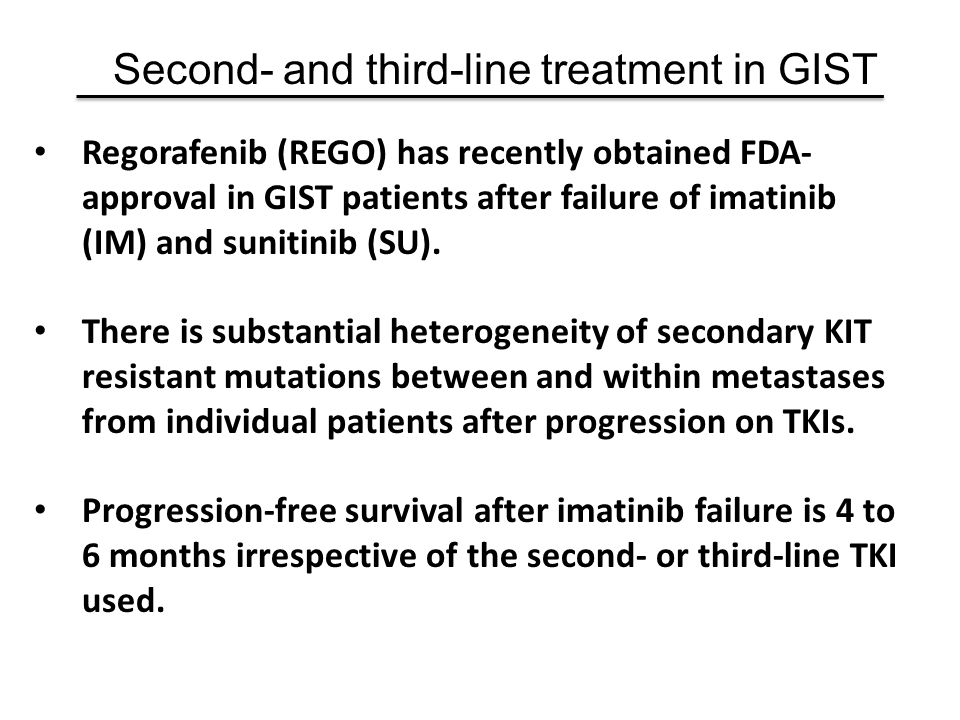 Regorafenib (REGO) has recently obtained FDA- approval in GIST patients after failure of imatinib (IM) and sunitinib (SU). There is substantial hetero