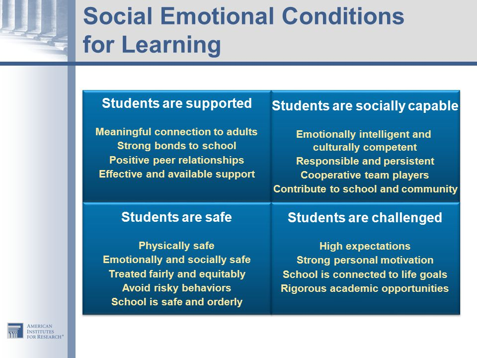  Connection  Attachment  Trust  Care  Respect  Inclusion  Connection  Attachment  Trust  Care  Respect  Inclusion Social Emotional Learning & Support Social Emotional Learning & Support Positive Behavioral Approaches & Learning Supports Positive Behavioral Approaches & Learning Supports Academic Support  Effective Pedagogy  Engagement  Motivation Academic Support  Effective Pedagogy  Engagement  Motivation Supporting Conditions for Learning 7