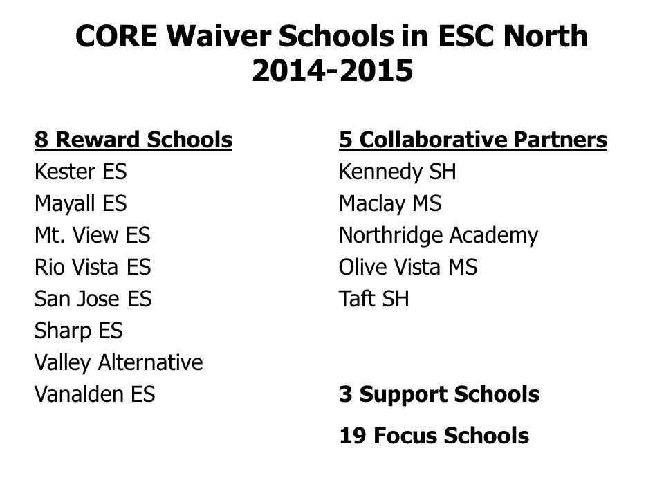 CORE Waiver Schools in ESC North 2014-2015 8 Reward Schools Kester ES Mayall ES Mt.