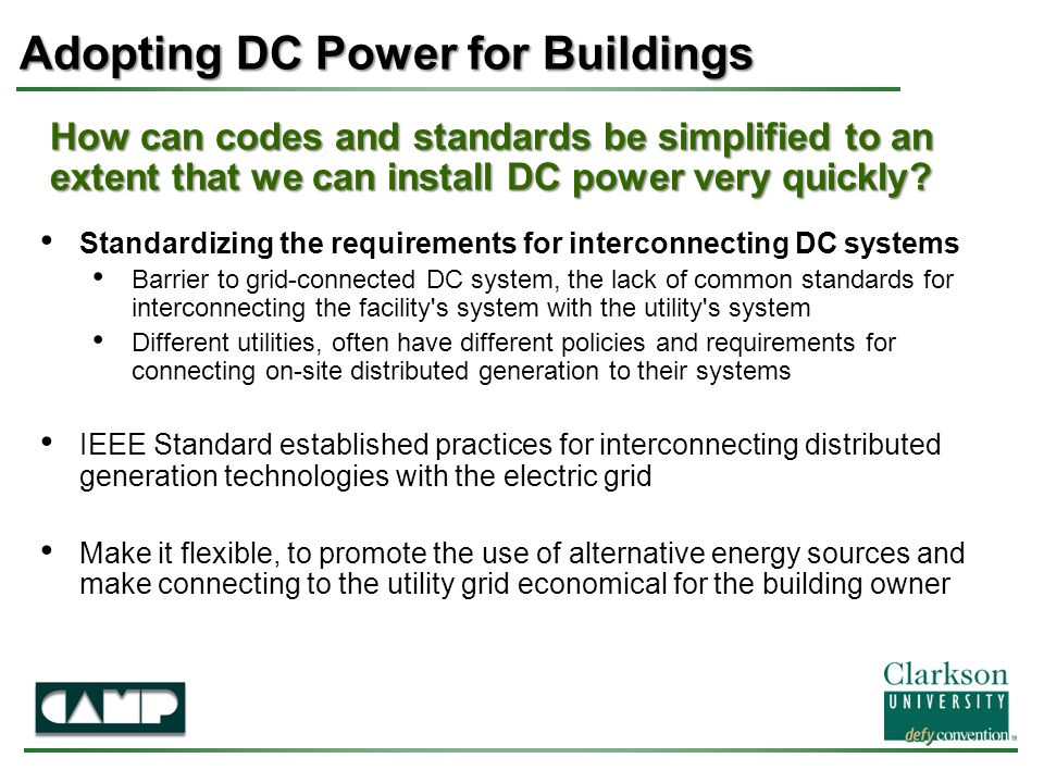 How can codes and standards be simplified to an extent that we can install DC power very quickly.