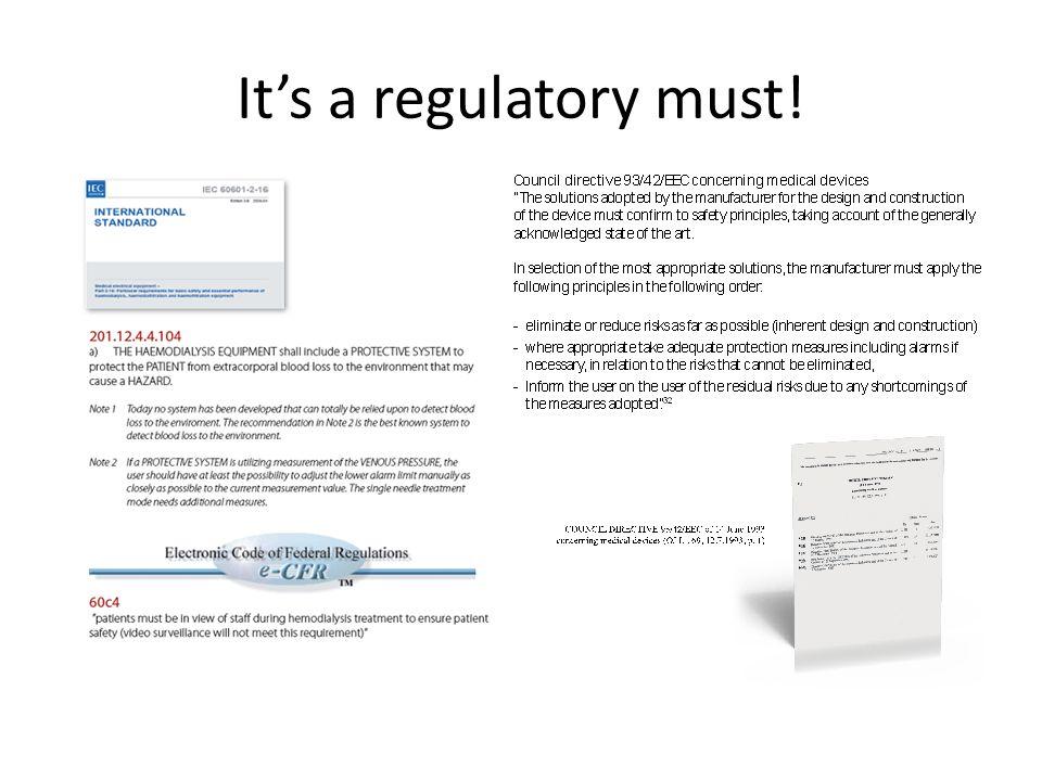It's a regulatory must!