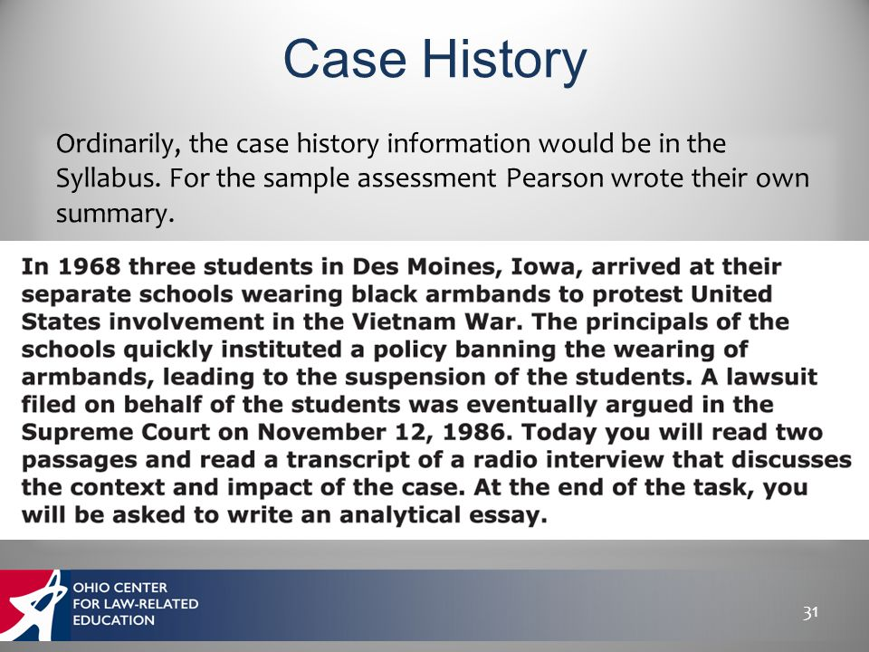 31 Ordinarily, the case history information would be in the Syllabus. For the sample assessment Pearson wrote their own summary.