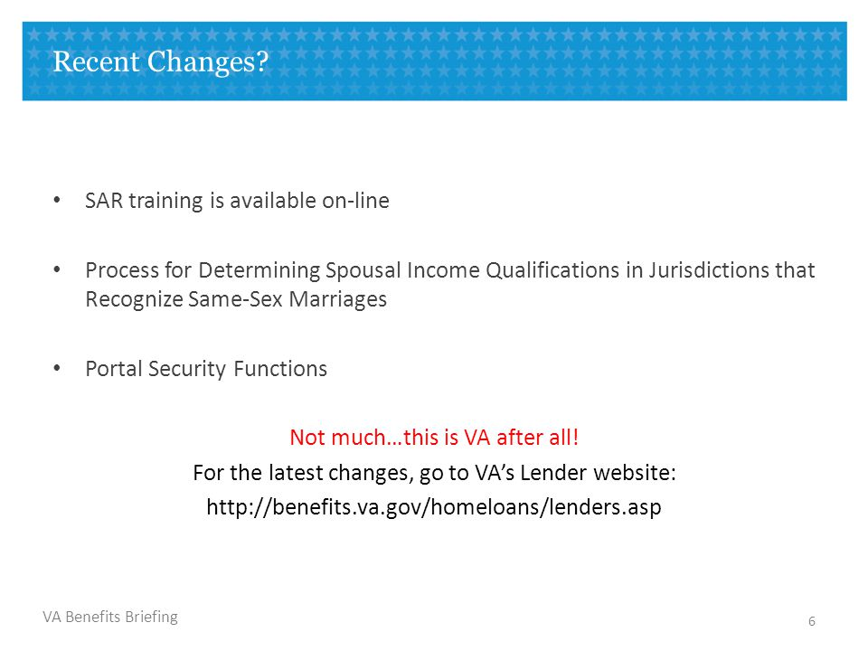 VA Benefits Briefing What are the Differences When Qualifying a Person.