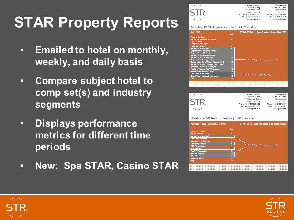 STAR Property Reports Emailed to hotel on monthly, weekly, and daily basis Compare subject hotel to comp set(s) and industry segments Displays performance metrics for different time periods New: Spa STAR, Casino STAR