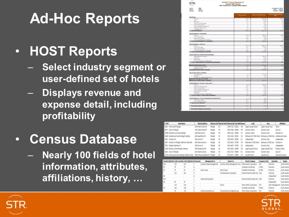 Ad-Hoc Reports HOST Reports –Select industry segment or user-defined set of hotels –Displays revenue and expense detail, including profitability Census Database –Nearly 100 fields of hotel information, attributes, affiliations, history, …