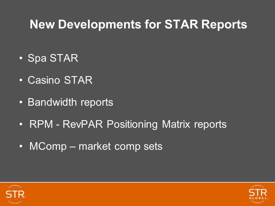 New Developments for STAR Reports Spa STAR Casino STAR Bandwidth reports RPM - RevPAR Positioning Matrix reports MComp – market comp sets