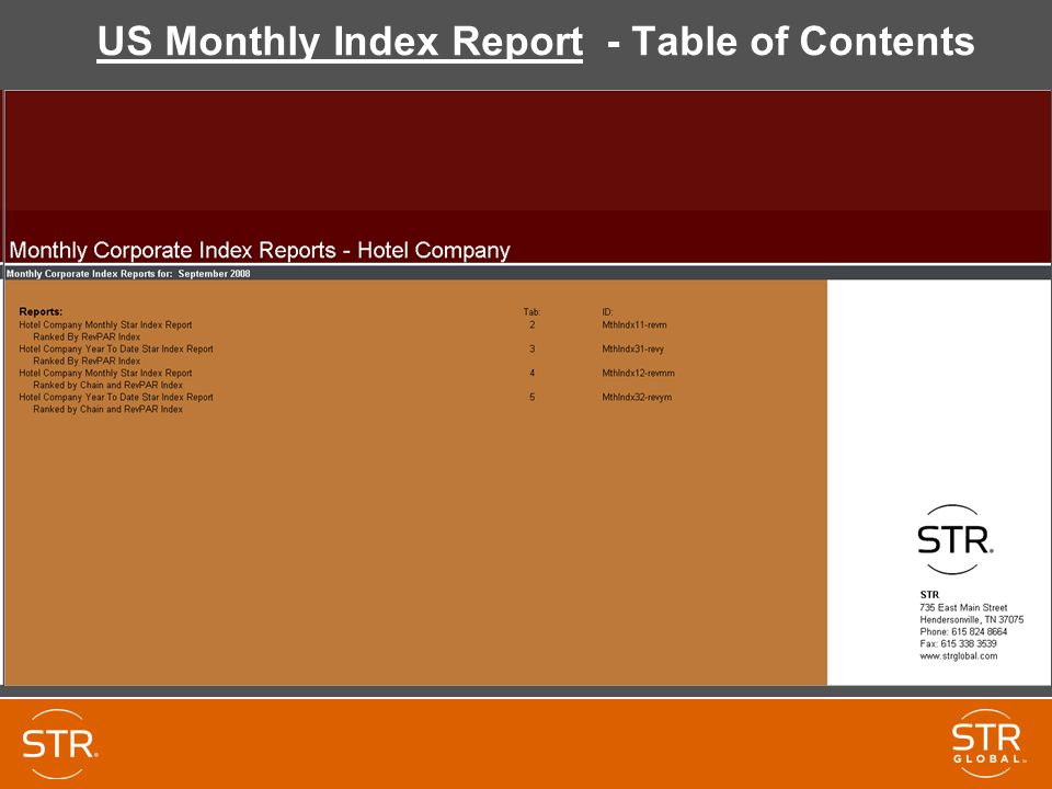 US Monthly Index Report - Table of Contents