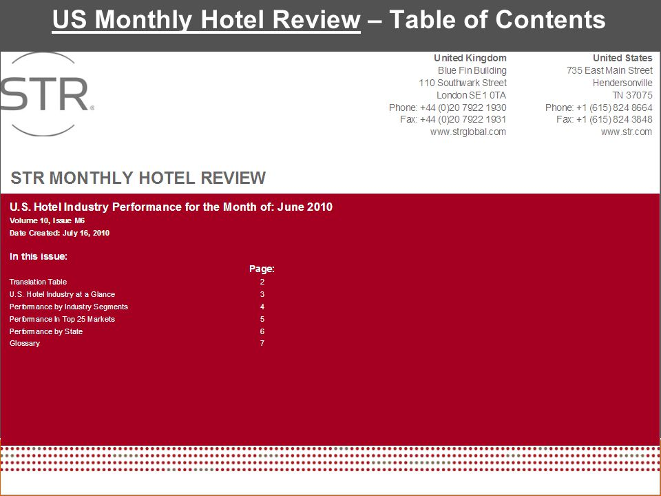 US Monthly Hotel Review – Table of Contents