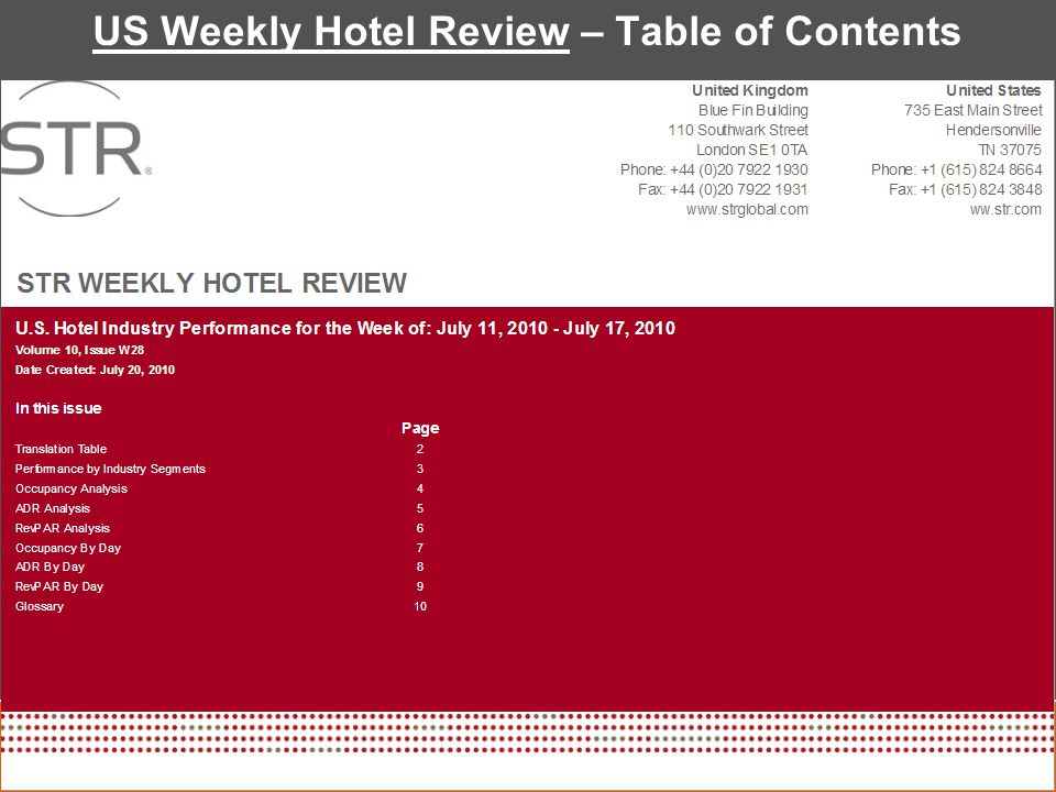 US Weekly Hotel Review – Table of Contents
