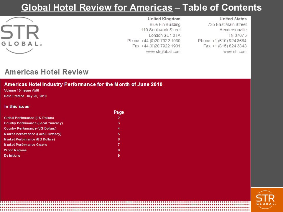 Global Hotel Review for Americas – Table of Contents