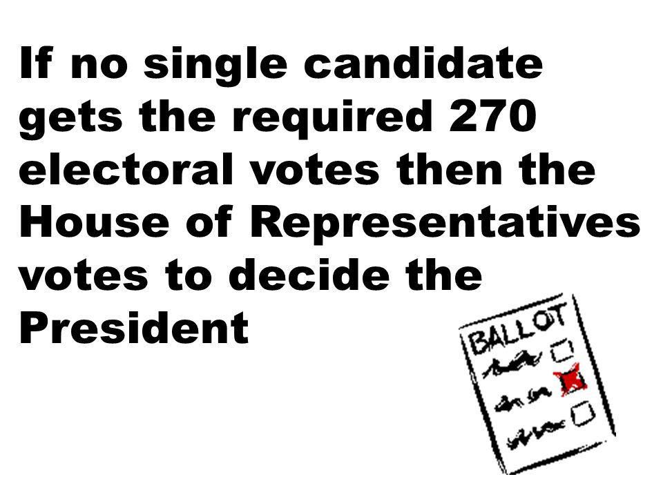 If no single candidate gets the required 270 electoral votes then the House of Representatives votes to decide the President