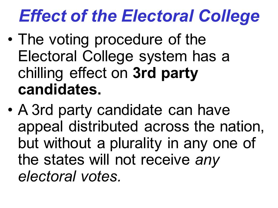 Effect of the Electoral College The voting procedure of the Electoral College system has a chilling effect on 3rd party candidates. A 3rd party candid