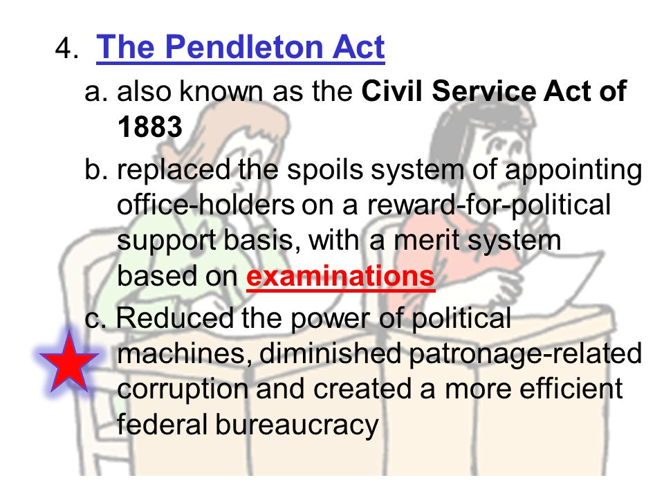4. The Pendleton Act a. also known as the Civil Service Act of 1883 b. replaced the spoils system of appointing office-holders on a reward-for-politic