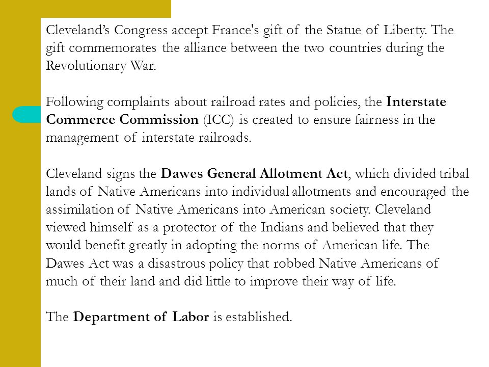 Cleveland's Congress accept France s gift of the Statue of Liberty.