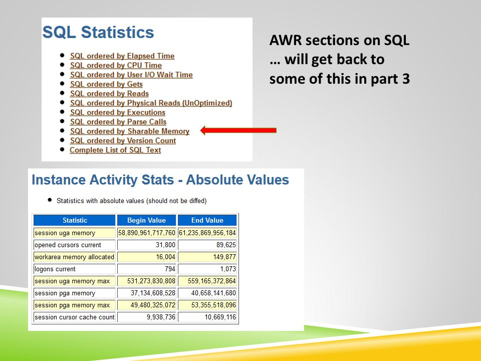 AWR sections on SQL … will get back to some of this in part 3