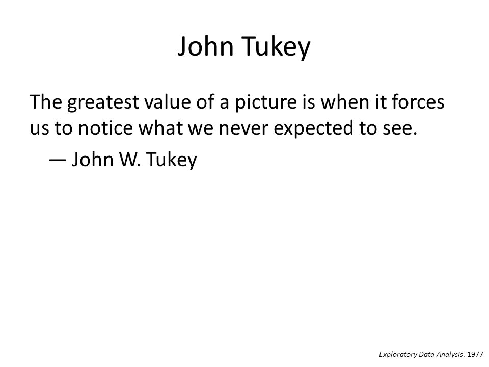 John Tukey The greatest value of a picture is when it forces us to notice what we never expected to see. — John W. Tukey Exploratory Data Analysis. 19